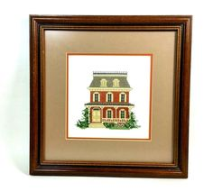 Victorian House Framed Cross Stitch Wall Hanging Completed Finished Home Decor