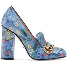 Gucci New Flora Leather Pump (€770) ❤ liked on Polyvore featuring shoes, pumps, blue, women, leather shoes, colorful shoes, multi colored pumps, foldable shoes and high heeled footwear