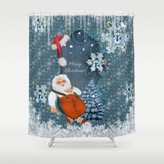 Funny Santa Claus with snowman Shower Curtain by