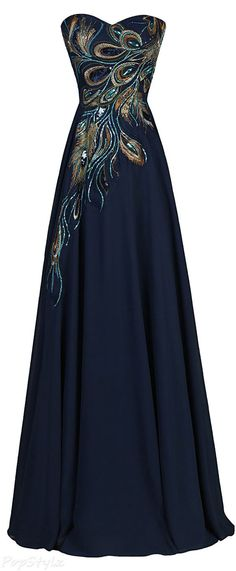 LOVE Prom Dresses Grace Karin Long Strapless A-line Embroidered Gown Evening Dresses, Prom Dresses, Formal Dresses, Formal Evening Gowns, Peacock Bridesmaid Dresses, Classy Evening Gowns, Long Gowns, Bridesmaid Ideas, Ladies Dresses