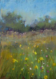 Yellow Wildflower Landscape 5x7 Original Pastel by kemstudios, $45.00