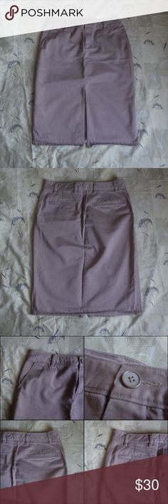GAP Vintage Vtg Khaki Straight Skirt With Slit Brand: GAP Size: 6 Color: Khaki  This item is in great condition. It is a skirt and features a slit up the center, as pictured. There are two pockets on the front for a more casual look, as well as two back pockets. Has a zip and button closure. GAP Skirts