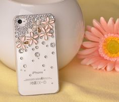 1PCS Handmade Crystal and pink Cherry cell phone case for iPhone 4 and iphone 4s cover. $13.99, via Etsy.
