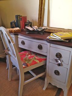 Vintage painted desk by StylishPatina   ASCP french linen