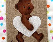 Teddy bear vintage original painting for baby room decor nursery. $83.00, via Etsy.