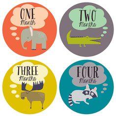 Monthly Baby Sticker Gift Set w/ Gerber ONESIE by Lucy Darling - Retro Animals - Months 1-12 $19.99