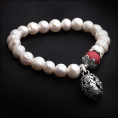 Tibetan silver hollow bell, red coral, natural freshwater pearl bracelet beaded fashion jewelry for women Approximate Dimension: 6.5 cm bracelet diameter