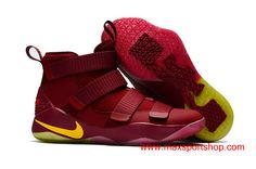 c76e7f3c38af Nike LeBron Soldier 11 Cavs PE in Game Wine-red Yellow Men s Basketball  Shoes  76.00