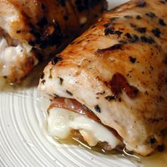 Chicken stuffed with mozzarella cheese and roasted red peppers. I made this last week, it was sooo good!
