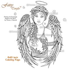 Angel Fairy Tangles Adult Printable Coloring Book Pages by Norma Burnell 8x10 Coloring Book Sheet Angels to color - coloring for adults