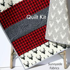 Lumberjack Stripe Quilt Kit, Buffalo Plaid Woodland Baby Nursery, Quilting Ideas Sewing Project