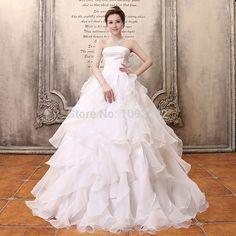 s 2016 stock new plus size  women  bridal ball gown wedding dress layered dress puff white skirt  bride wedding dress