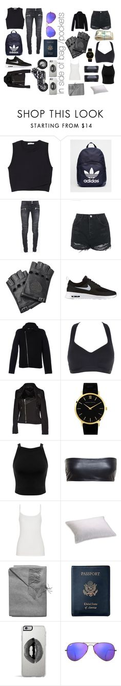"""what to pack when running away"" by lollie2142 ❤ liked on Polyvore featuring A.L.C., adidas, Balmain, Topshop, Valentino, NIKE, Under Armour, Falorma, Larsson & Jennings and Miss Selfridge"
