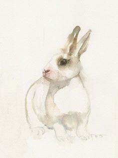Little white rabbit, animal art, watercolor print, bunny watercolor painting print art. Animals Watercolor, Watercolor Print, Watercolor Paintings, Watercolors, Lapin Art, Illustrations, Illustration Art, Painting Prints, Art Prints