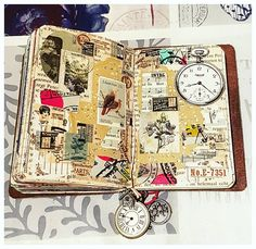 It was so much fun to make the last spread so I made one more in my passport size Traveler's Notebook. This weekend I won't be able to craft much. Maybe I can show you some craft stuff I will buy. Altered Books, Altered Art, Travel Journal Scrapbook, Glue Book, Art Journal Pages, Art Journals, Travel Journals, Journal Covers, Creative Journal