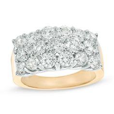 2-7/8 CT. T.W. Diamond Three Row Anniversary Ring in 14K Gold
