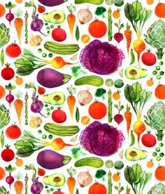 Vegetables Pattern by © Margaret Berg. www.margaretberg.com