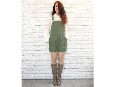 Vintage 90s Suspenders Shorts Overalls Romper Green M Linen Pockets by PopFizzVintage on Etsy