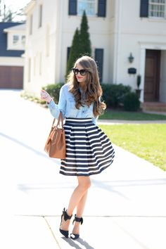 chambray top (comes in 9 colors) // Chicwish striped skirt c/o (not available anymore, similar here ) cat eye sunglasse. Spring Summer Fashion, Spring Outfits, Preppy Style, My Style, Southern Curls And Pearls, Chambray Top, Stripe Skirt, Womens Fashion For Work, Fashion Outfits