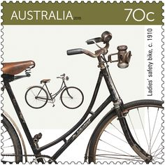 """The Bicycles stamp issue focuses on bike design from the late 19th century to 2015, with each bike shown manufactured in Australia.  Title: 70c Ladies' safety bike Released: 13 October 2015 Denominations: 2 x 70c, 1 x $1.85, 1 x $2.75 Stamp design: Sean Pethick Stamp size: 35mm x 35mm Postmark: Ryde, NSW 2112 The """"safety bike"""" first appearing in 1885. Its similar-sized wheels employed a rear-wheel chain drive and the rider's weight was lower to the ground.  #StampCollecting."""