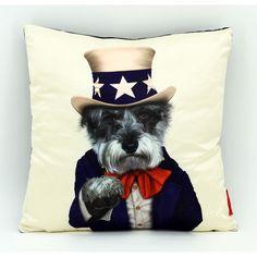 Empire Art Pets Rock Uncle Sam Throw Pillow 18-inch (Pets Rock Faux Silk Pillow) (Cotton, Animal)
