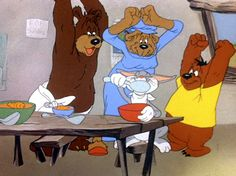 Bugs Bunny and the Three Bears 1940.  Bugs ends up in this story because Mama bear tries to tempt Goldilocks with carrot soup.