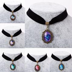 9e0ebe37f887 6 Colores 2016 collares Gargantilla Collar Gótico Retro Elástico del  Estiramiento de La Vendimia Estrella Nebulosa