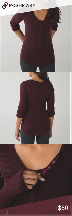 Lululemon Find Your Mantra Henley, Burgundy, 8 Lululemon Find Your Mantra Henley, burgundy, size 8. No tags, but in excellent condition. Thumb holes keep sleeves down. This top is great for anyone, but if you are looking for a stylish nursing/pumping top, look no further!!! lululemon athletica Tops Tees - Long Sleeve