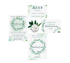 Eucalyptus Wedding Invitation, Wedding Invitation Suite Printable, Elegant Wedding Invitation Set, Printable Wedding Invitation Set by SeptemberCreationsAE on Etsy