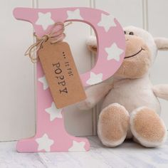 Freestanding Wooden Letter with Name Tag