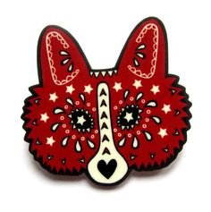 Day of The Dead Sugar Skull Style Fox Pin Brooch by by DollyCool