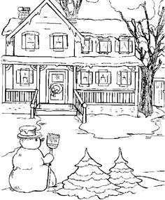 XMAS COLORING PAGES NORTH POLE SNOWY CHRISTMAS HOUSES TO COLOR