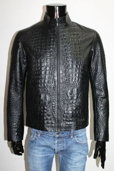 ITALIAN HANDMADE MEN LEATHER SLIM FIT BLOUSON JACKET CROCODILE BLACK XL #Handmade #Jacket