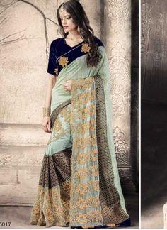 Turquoise Navy Blue Embroidery Work Net Coriya Designer Sarees http://www.angelnx.com/Sarees/Party-Wear-Sarees