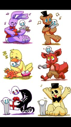 Five nights at Freddy's characters with they're dead kids