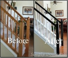 Some sanding and a few coats of paint really update the look of the dated wood railing on this staircase. Easy!