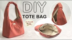 DIY CANVAS TOTE BAG // วิธีทำกระเป๋าผ้าแคนวาสสายผ้าในตัว - YouTube Canvas Travel Bag, Canvas Tote Bags, Wallet Sewing Pattern, Diy Tote Bag, Diy Handbag, Denim Crafts, Sewing Lessons, Fabric Bags, Purses