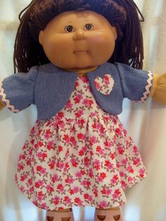 Cabbage Patch Doll Clothes, Bolero and Dress, fits to Baby Dolls Cabbage Patch Kids Clothes, Cabbage Patch Babies, Sewing Doll Clothes, Sewing Dolls, Kids Clothes Patterns, Clothing Patterns, Baby Born Clothes, Barbie Patterns, Baby Dolls