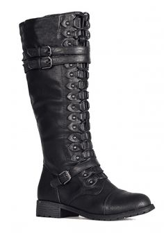 Steampunk Black Lace Up Boots