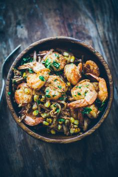 Nudle with corn and ginger prawns (2 servings)