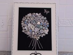 Framed Art Flower Bouquet Handmade with by NotTooShabbyDesignCo