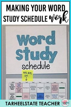 2 Tips for Making Any Word Study Schedule Work — Tarheelstate Teacher Word Study Activities, Common Core Activities, Fun Classroom Activities, Classroom Ideas, Teacher Blogs, New Teachers, Study Schedule Template, Master Schedule, Reading Motivation