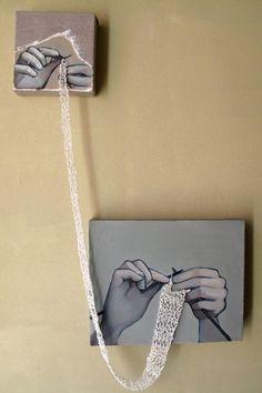 Knitting wall art with yarn