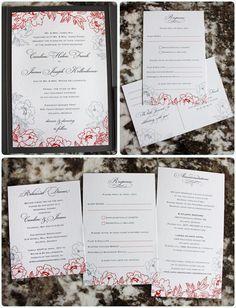 Dark Coral and Gray Peony Floral Pocketfold Wedding Invitations