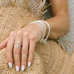 Mini Charm Sterling Silver Ring with My Guardian Angel Charm Silver Dip, Silver Bangles, Silver Beads, Sterling Silver Rings, Silver Jewelry, My Guardian Angel, Silver Ring Designs, Bracelet Sizes, Silver Color