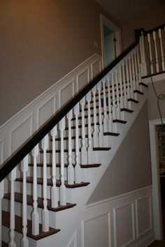 wanscotting up staircW | ... with white spindles--wainscoting up the stairs and on landing