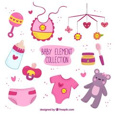 Hand-drawn collection of pink and purple baby items with yellow details Free Vector