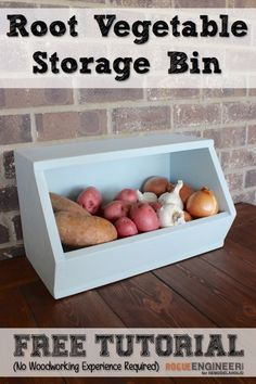 Easy DIY Root Vegetable Storage Bin - Free Plans + Tutorial - Rogue Engineer on @Remodelaholic