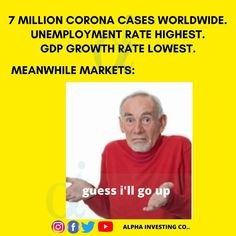 The Indian market has recovered by more than 30% from the march lows. The US market is also facing the same kind of gain. The Nasdaq is near its 52 week high. What is the reason of this rally in India, where there is no sogn of corona cases reducinh. The number of new cases is going up day by day. Unemployment has increased. Though the lockdown is relaxed, the reason why lockdown was imposed, the corona virus, cases have not reduced. India has total of 2,60,000 positive cases. Around 70 lakh… Unemployment Rate, Rally, Instagram Feed, Investing, March, Cases, Positivity, Indian, Number