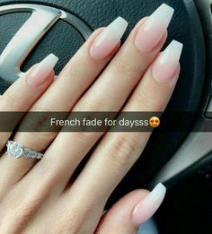 Nail - French Fade Nail Designs are one of the most popular nail shapes for women. - - French Fade Nail Designs are one of the most popular nail shapes for women. French Fade Nails, also called French ombre Nails or baby boomer nails, co. Wedding Nails For Bride, Bride Nails, Prom Nails, Plum Wedding, Cuffin Nails, Simple Wedding Nails, Wedding Manicure, Sparkle Wedding, Wedding Nails Art